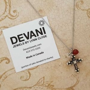 Cross Pendant Necklace with Carnelian