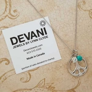 Peace Symbol Necklace with Turquoise