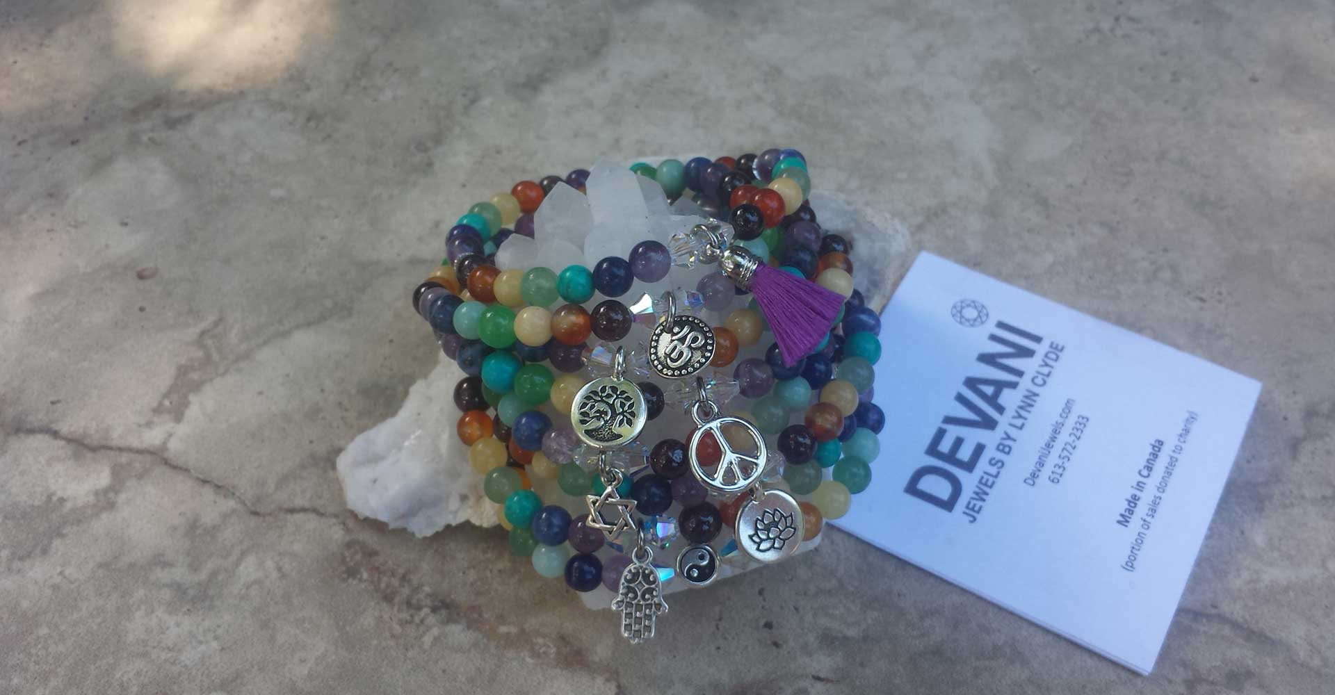 Chakra Beads with Pewter Charm