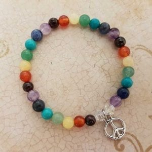 Hippy Chakra Bracelet with Peace Symbol