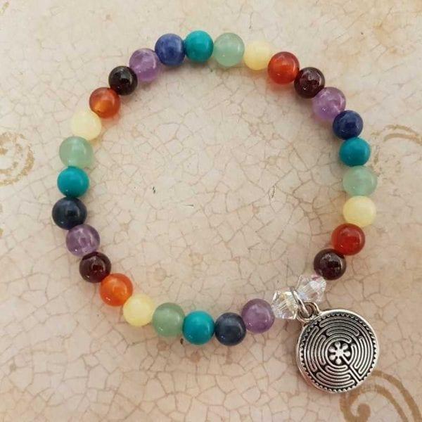 Labyrinth Pewter Charm Chakra Bracelet