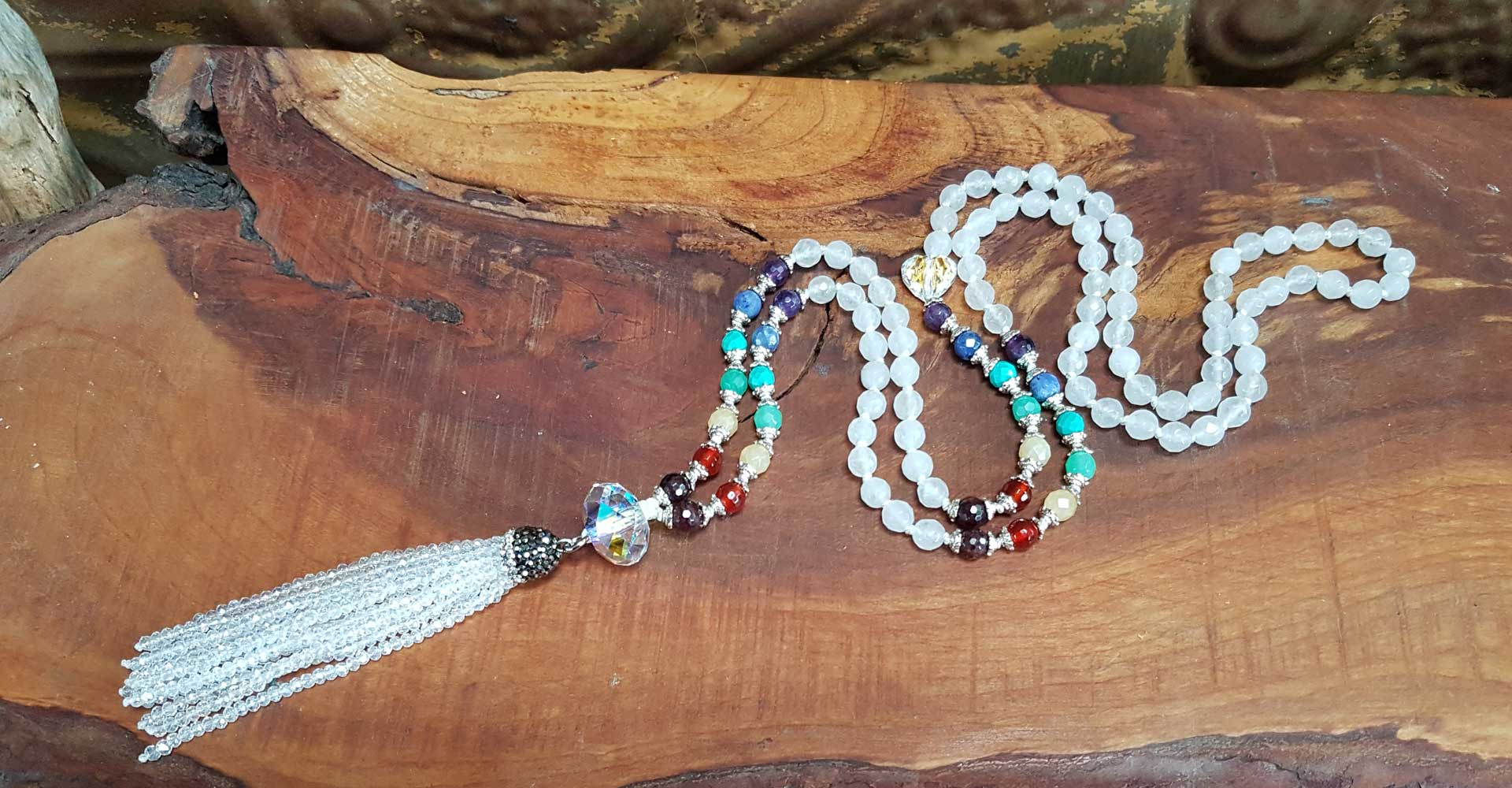 Mala Necklace with white and chakra beads