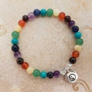 Yin Yang Charm with Chakra beads
